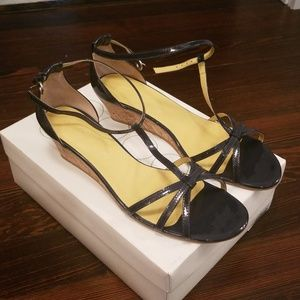 NWT Boden Navy Patent Sandal Wedges